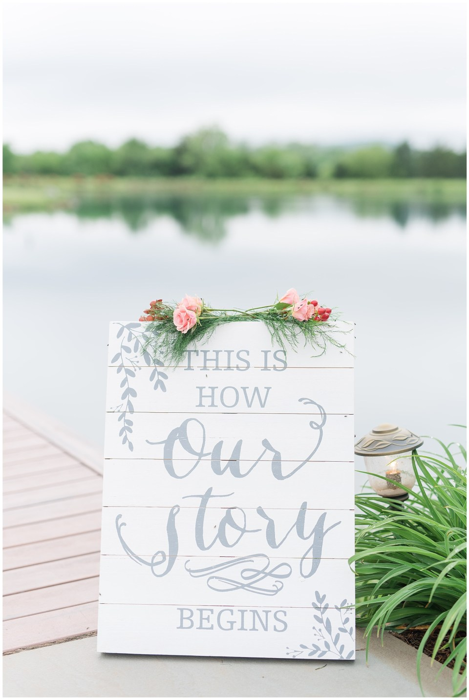 our-story-begins-white-gray-wedding-sign-old-house-vineyards-wedding-photo