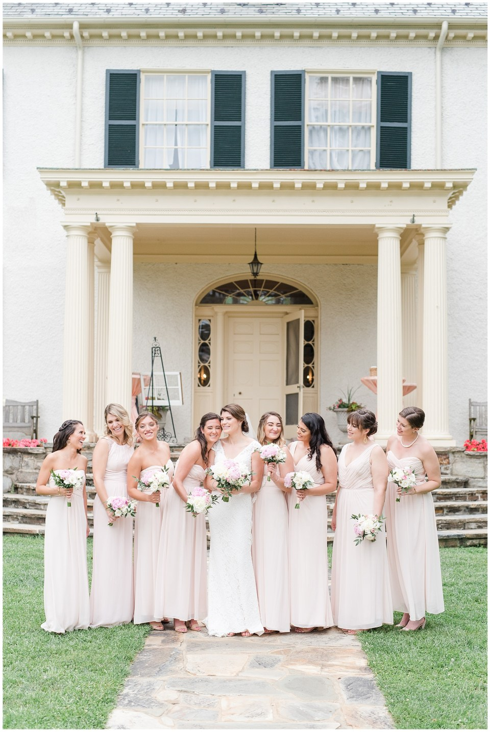 blush bridesmaid dress at rust manor house in virginia