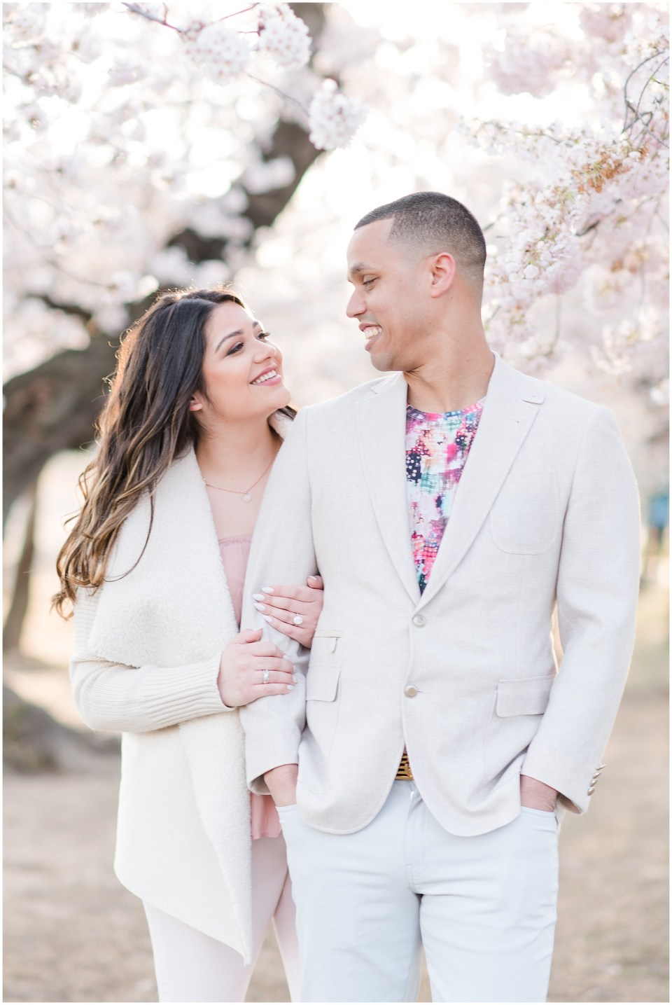 dc cherry blossom engagement photo