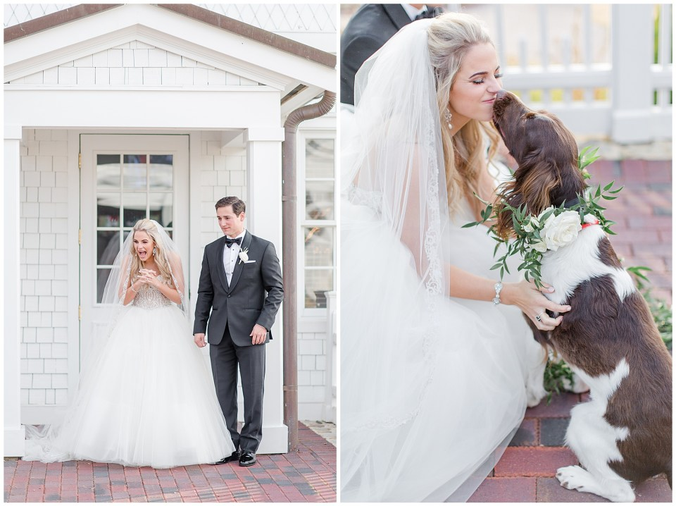 wedding day first look with dogs