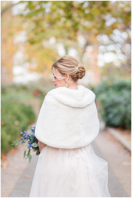 fall dc wedding bridal fur over dress photo