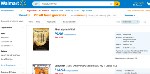 Walmart Fantasy Book Deal: The Labyrinth Wall and The Haunted Realm by Emilyann Girdner