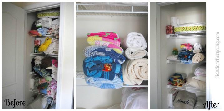 Linen Closet Organization RandomRecycling.com