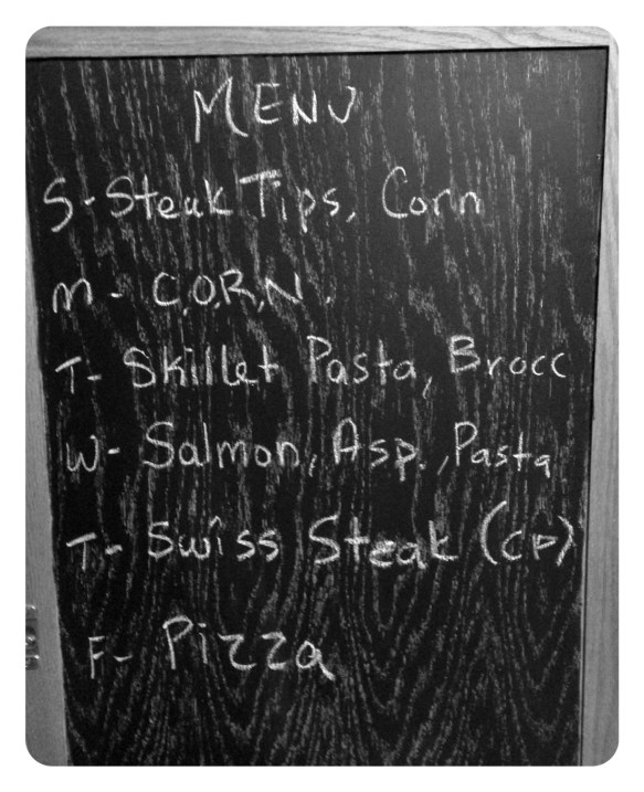 Chalkboard Menu Plan