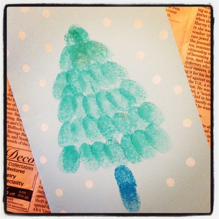 Thumbprint Christmas Tree #xmascraftaday
