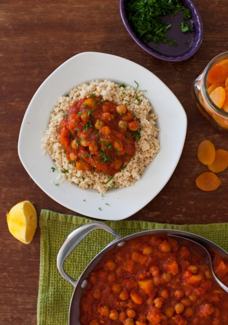 Lovely meatless meal in the slow cooker: Chickpea Apricot Stew from SimpleBites.net