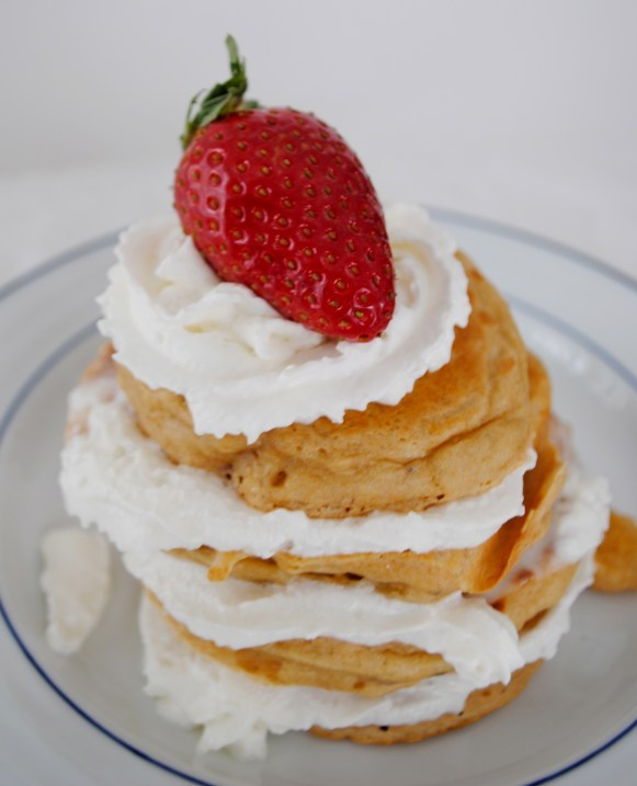 whipped cream and strawberry shortcake pancake