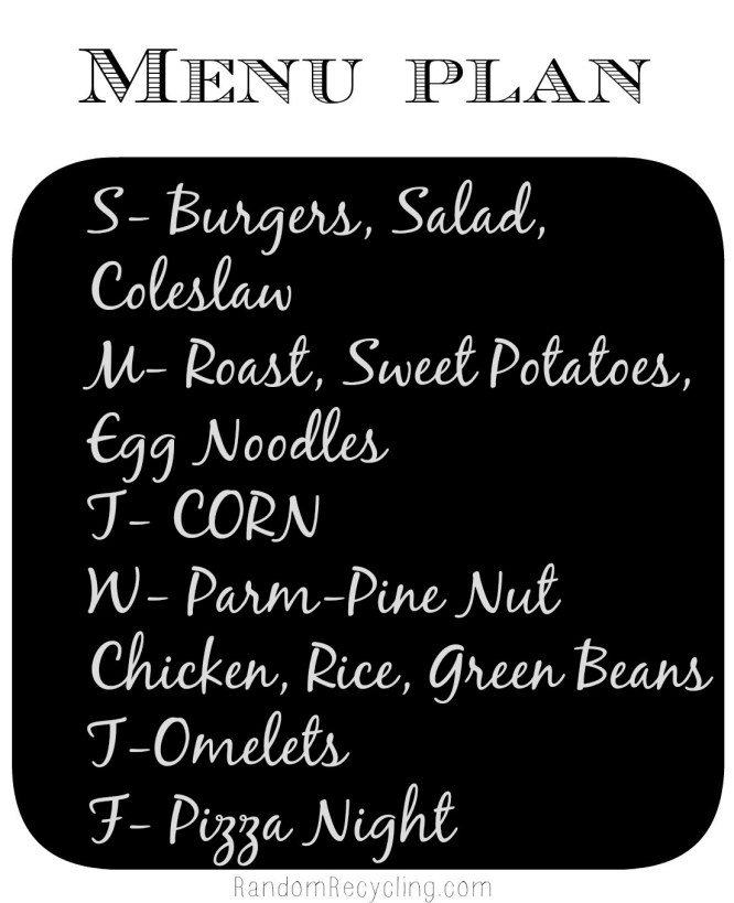 Meal Plan March 24-family dinners
