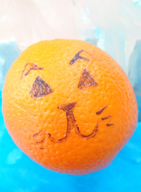 Draw fun faces on oranges in the kids school lunch.