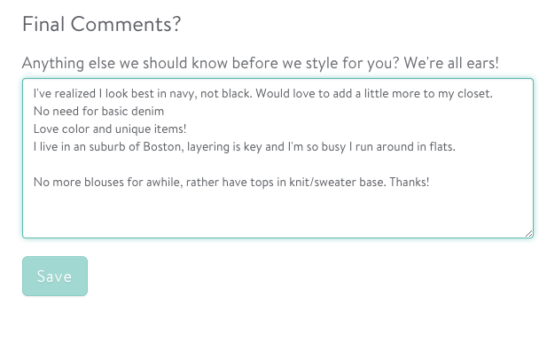 Use the StitchFix checkout area to give specific feedback about your box.