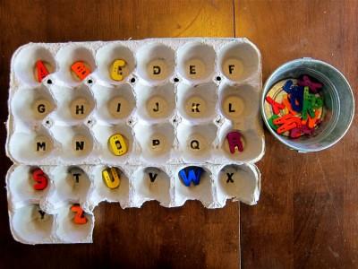 Alphabet egg carton game