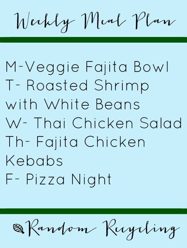 Weekly dinner meal plan