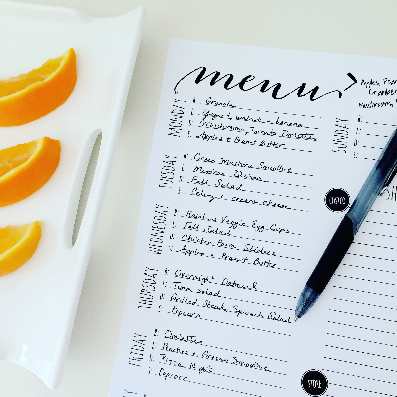Modern menu planning free printable