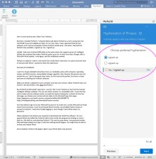 A screen capture showing Microsoft Word running PerfectIt