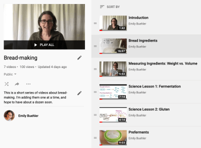screen capture of bread-making video playlist page, showing the videos in a column