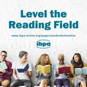 "row of people holding colorful open books with text ""Level the reading field"""