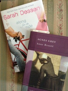 Sarah Dessen's book Along for the Ride, and Anne Bronte's Agnes Grey