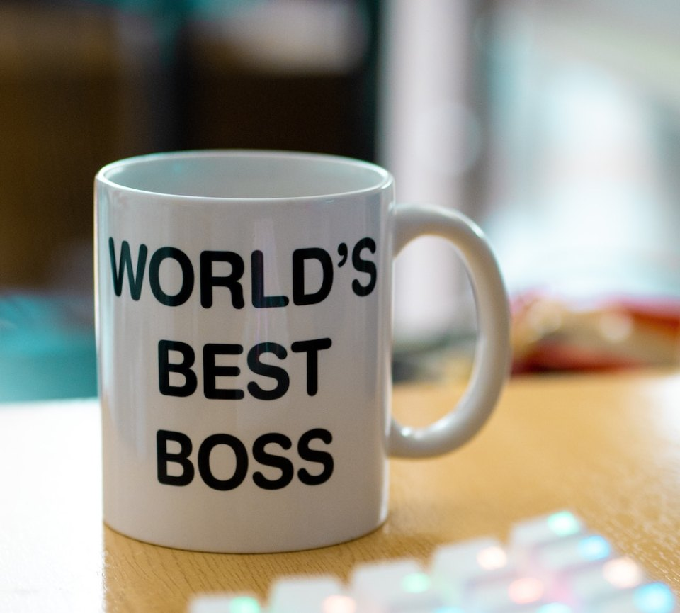 "mug with words ""World's Best Boss"""