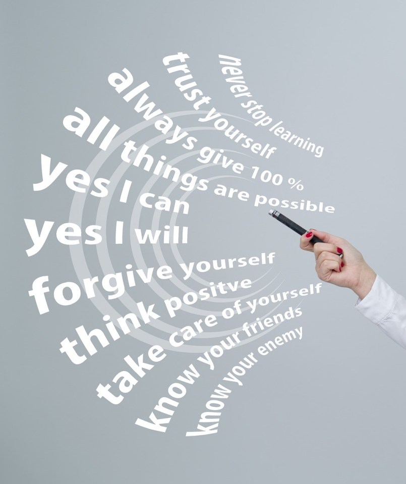 hand pointing at cartoon words with inspirational messages, floating in air: never stop learning, trust yourself, always give 100%, yes I can, yes I will, forgive yourself, think positive, take care of yourself, know your friends, know your enemy