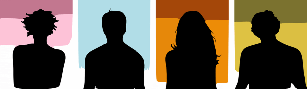 cartoon silhouettes of people with various hairstyles