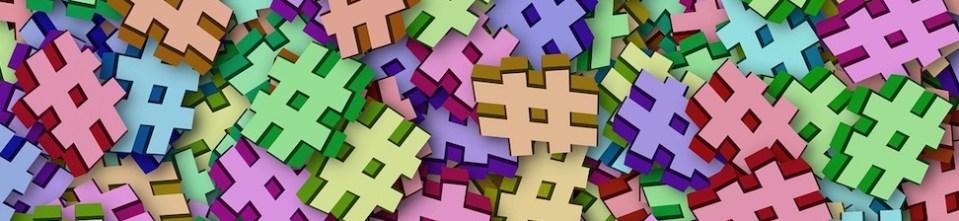 colorful hashtag symbols