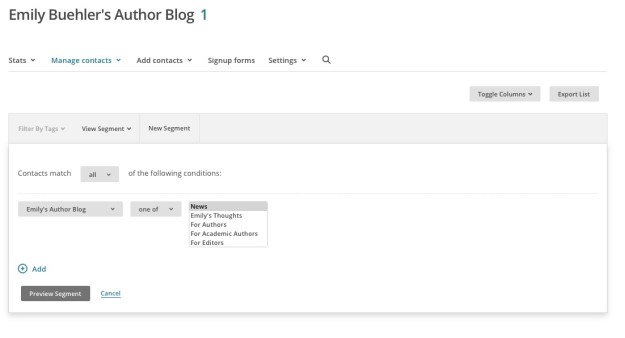 A screenshot from Mailchimp showing the dropdown menus in use when creating a new segment
