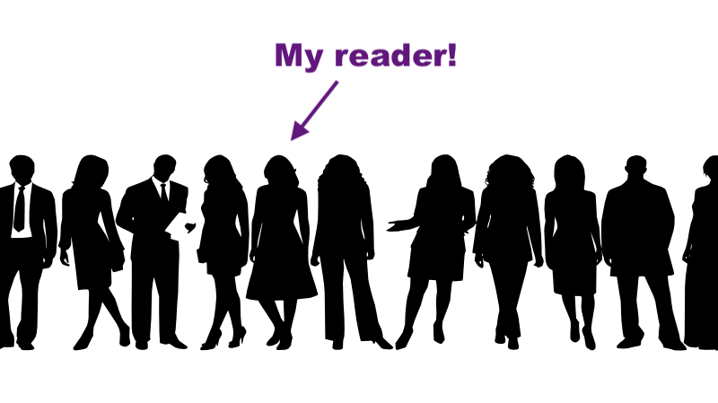 """row of silhouettes of people, including people in suits and dresses, with one person highlighted with an arrow and the words """"My reader!"""""""