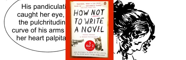 """drawing of woman in old-fashioned dress reading a book, with word bubble that reads, His pandiculation caught her eye, and the pulchritudinous curve of his arms made her heart palpitate""""; also book cover of How Not To Write a Novel, small and in the middle"""