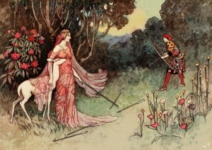 fairy tale drawing of woman in woodland setting with deer, and man holding bow and arrow