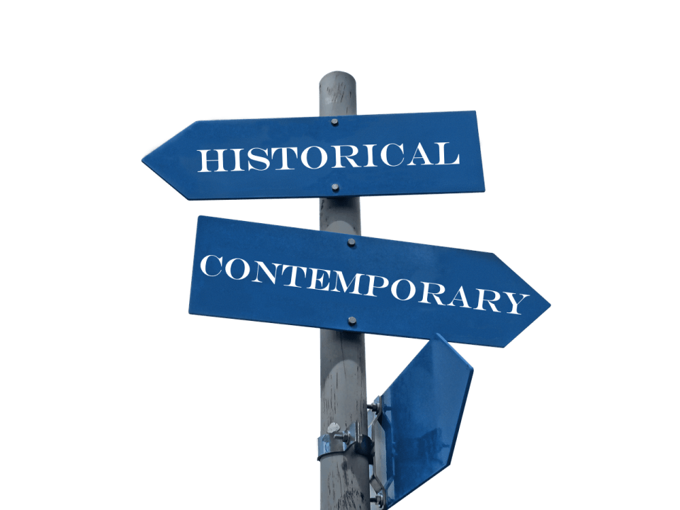 """drawing of signpost with signs pointing to """"historical"""" and """"contemporary"""""""