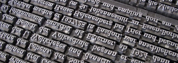 metal type laid out to print