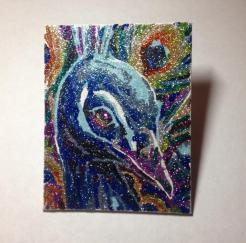 """SOLD! Peacock Party (1) - 4"""" x 5"""", glitter on canvas board, 2014"""