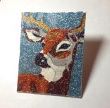 """SOLD! Stag - 4"""" x 5"""", glitter on canvas board, 2014"""
