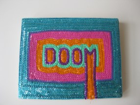 "Dommsday Sequins - 8"" x 10"", sequins on canvas, 2011"