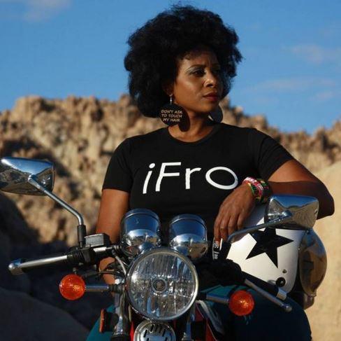 Black biker woman