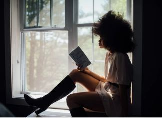 black girl reading