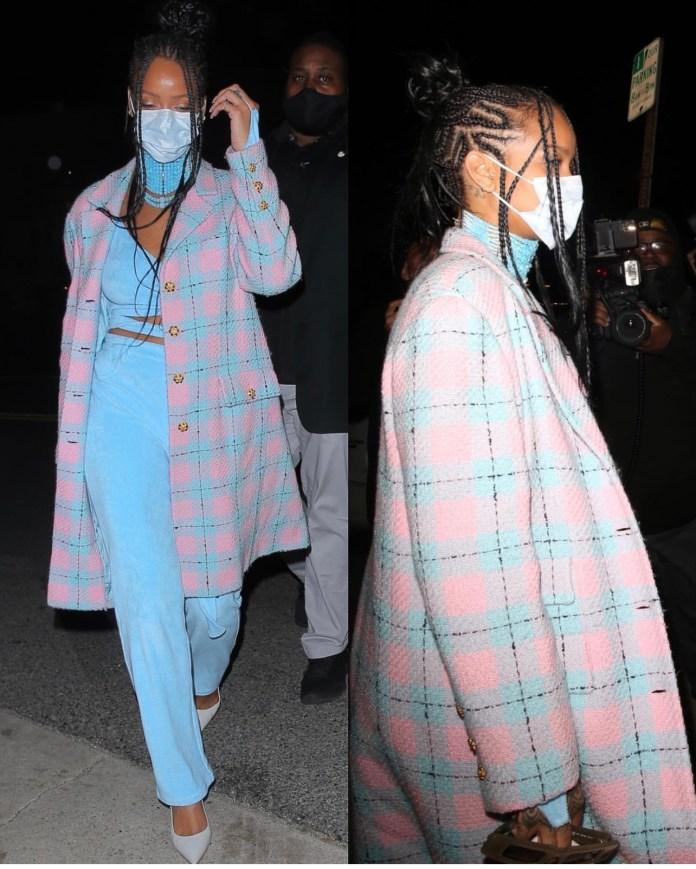 Rihanna street style at dinner pastel pants