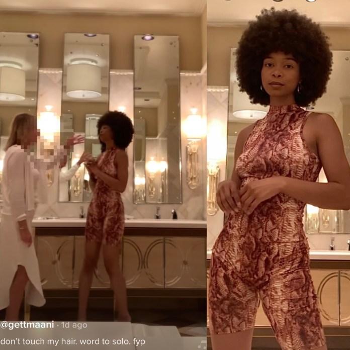 Watch Tiktoker Gettmanni React To A Woman Reaching For Her Hair