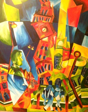 Abstract painting of Sheffield Town Hall