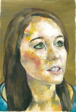 Portrait using flat brush