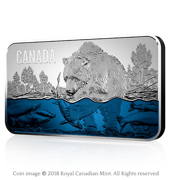 Pure Silver Ultra-High Relief Coin - Salmon Run