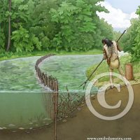 Illustration showing a Neutral man spear fishing ©Emily S. Damstra