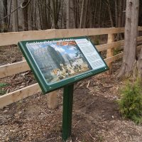 Trailside sign near Strasburg Creek, Huron Natural Area, Kitchener, Ontario