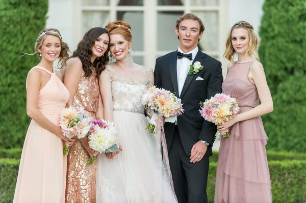 Bridal party at Rosecliff