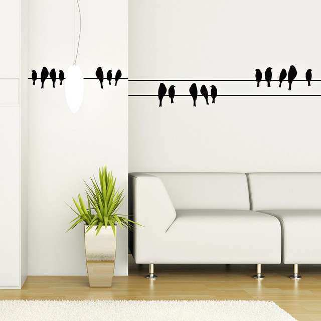 Birds On A Wire Wall Art Awesome Birds On A Wire Wall Vinyl Wall ...