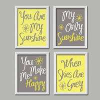 Blue and Yellow Wall Decor Best Of Yellow Gray You are My ...