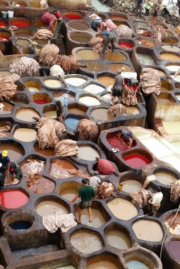Dyeing mills, Fes, Morocco