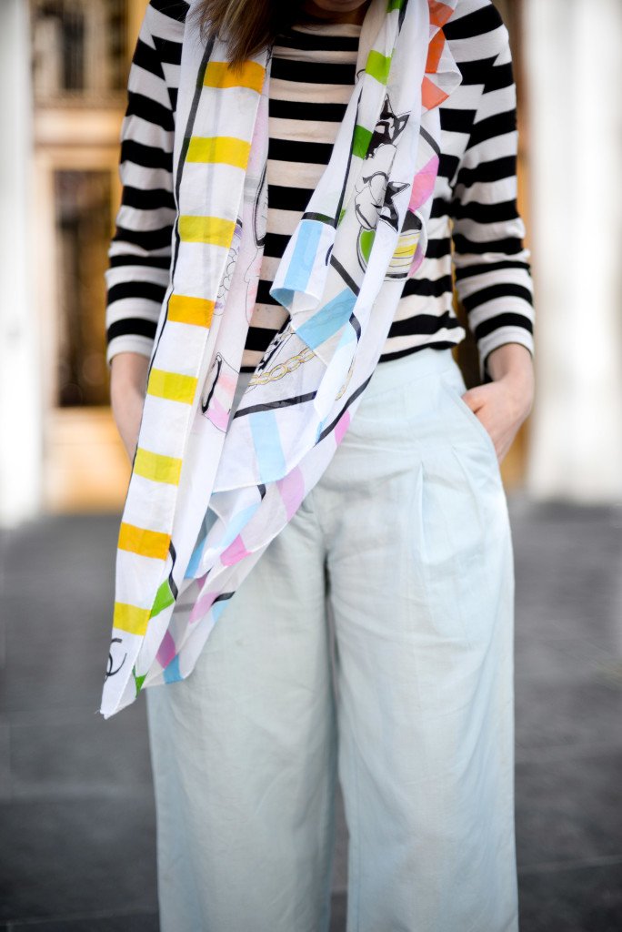 Vintage Chanel Scarf and Wide Legged Pants