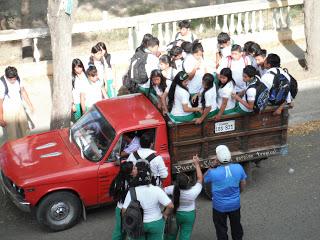 School kids in back of truck