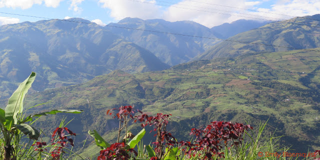 Ecuador Andes with crops on hillsides